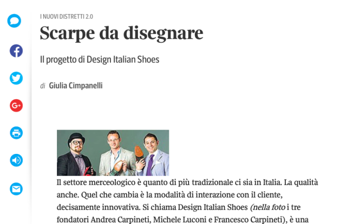 DIS Design Italian Shoes featured on Il Corriere Innovazione October 2014