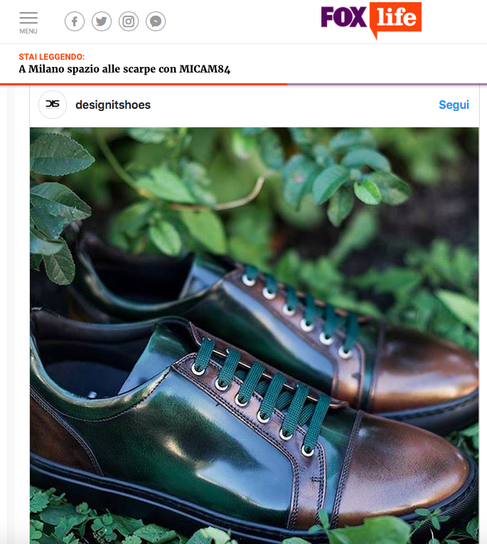 DIS Design Italian Shoes featured on Foxlife September 2017