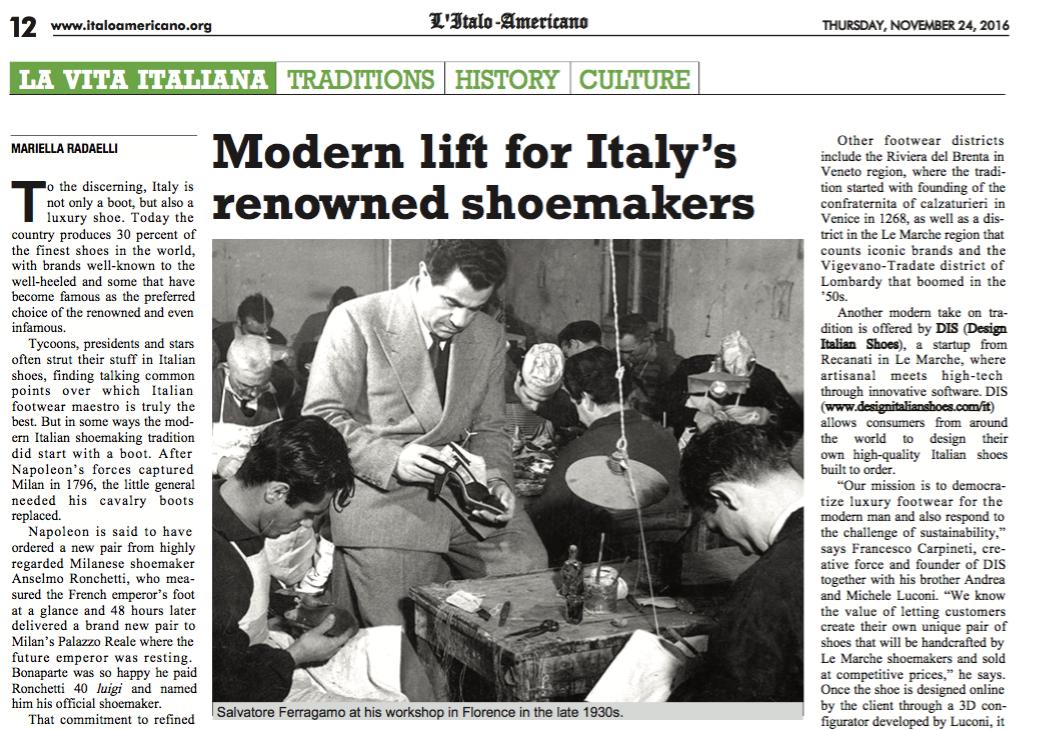DIS Design Italian Shoes featured on L'Italoamericano on November 2016