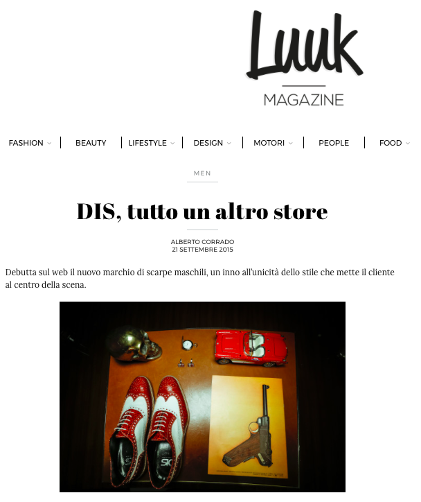 DIS Design Italian Shoes featured on Luuk Magazine September 2015