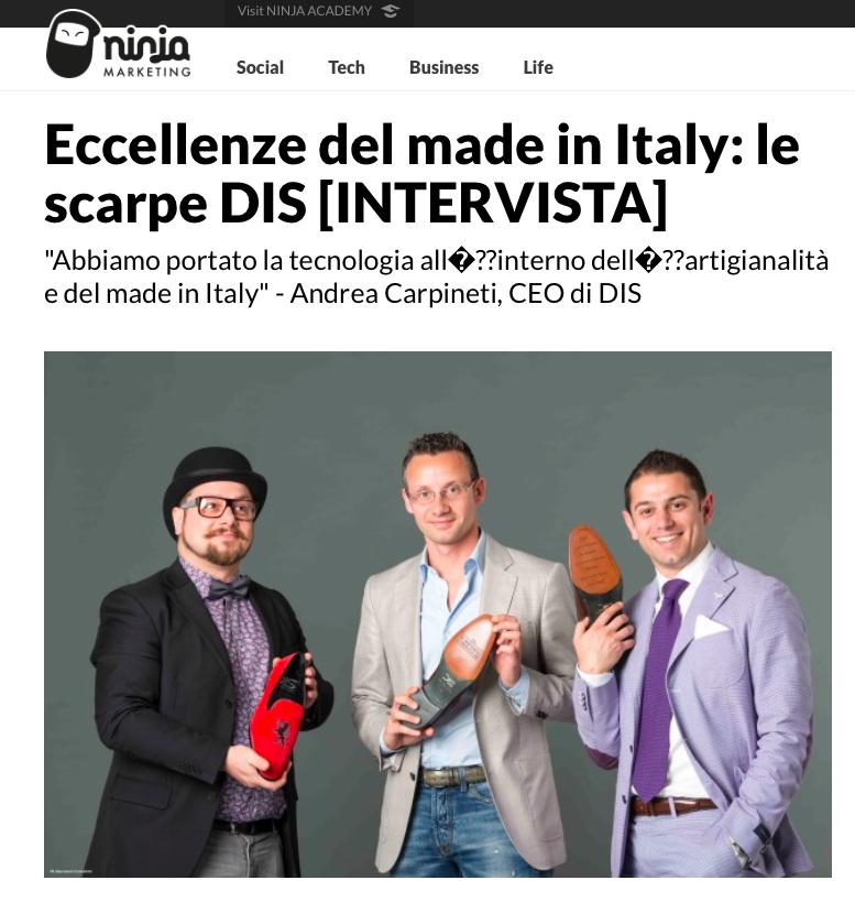 DIS Design Italian Shoes featured on Ninja Marketing: October 2015