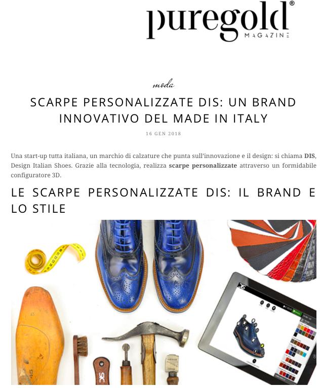 DIS Design Italian Shoes featured on Puregold Magazine 16 January 2018