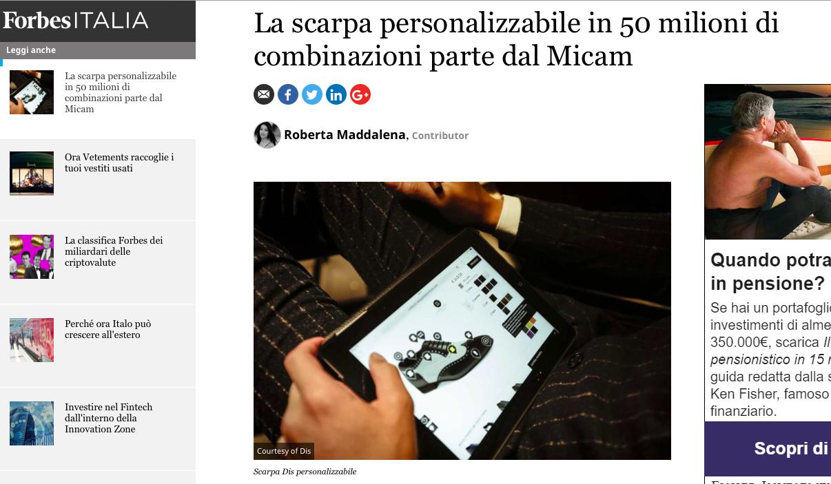 DIS Design Italian Shoes featured on Forbes Italia 9 February 2018