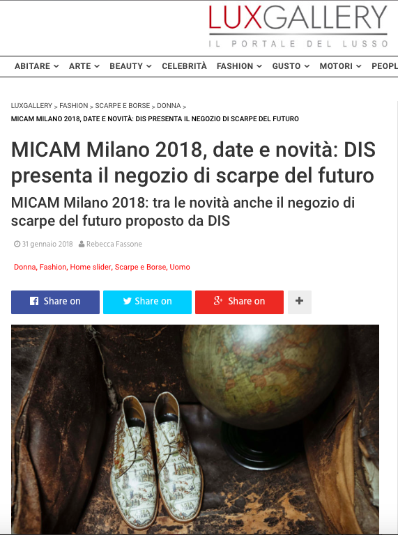 DIS Design Italian Shoes featured on Luxgallery 31 January 2018
