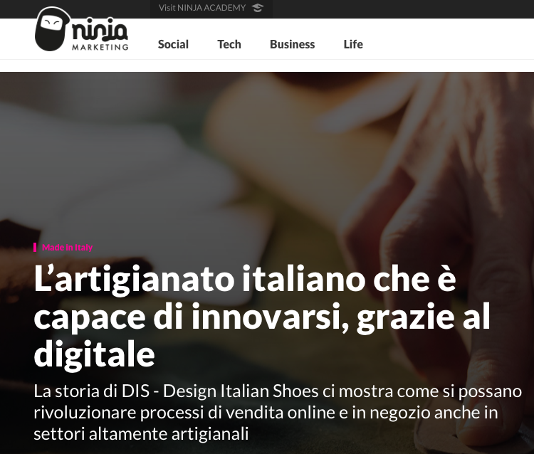 DIS-Design Italian Shoes featured on Ninja Marketing February 14 2018