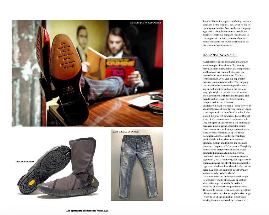 DIS-Design Italian Shoes featured on Sportswear International winter 2018 paper edition