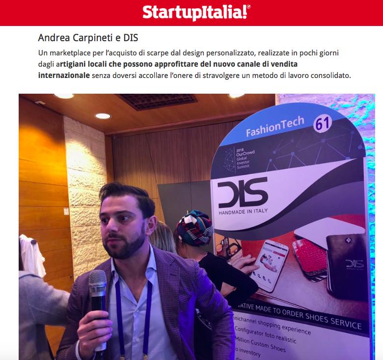 DIS Design Italian Shoes featured on Startupitalia 2 February 2018
