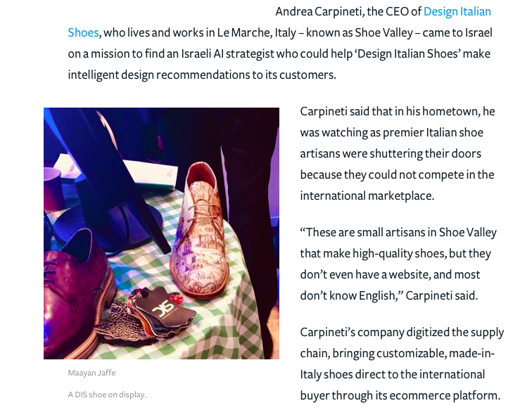 DIS Design Italian Shoes Featured on The Forward 8 February 2018