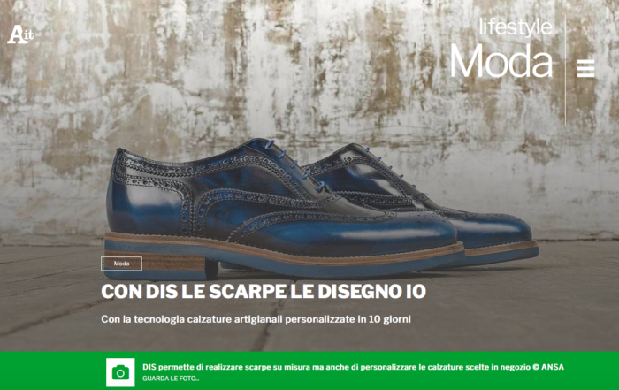 DIS-Design Italian Shoes featured on Ansa Moda and Lifestyle section 18 March 2018
