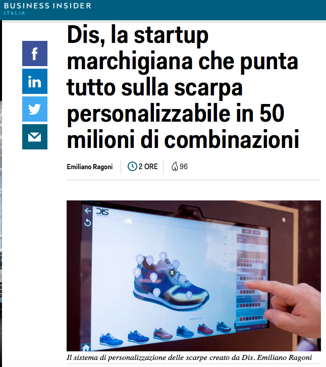 DIS Design Italian Shoes featured on Business Insider Italia March 10 2018