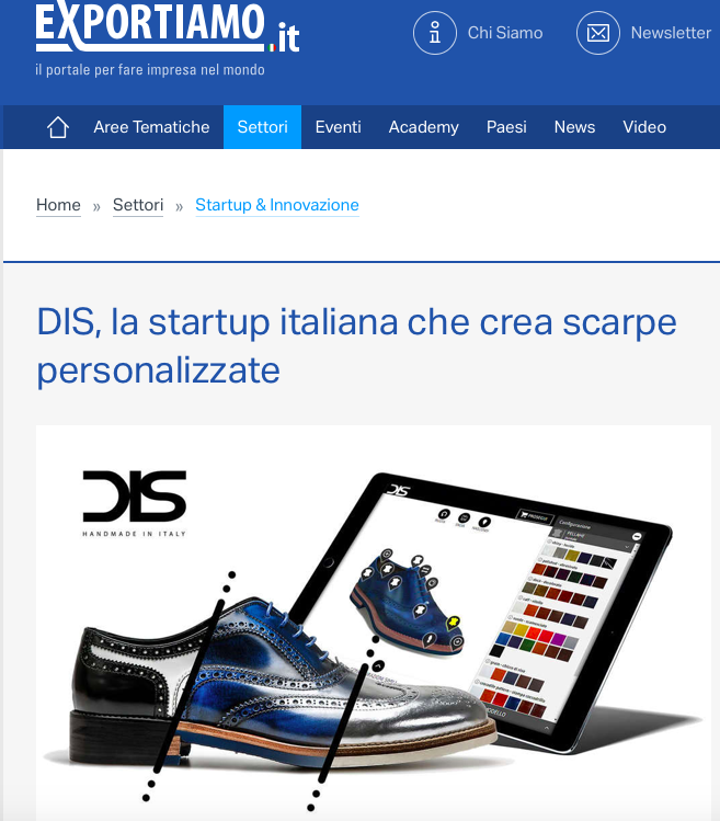 DIS Design Italian Shoes featured on Esportiamo 20 March 2018