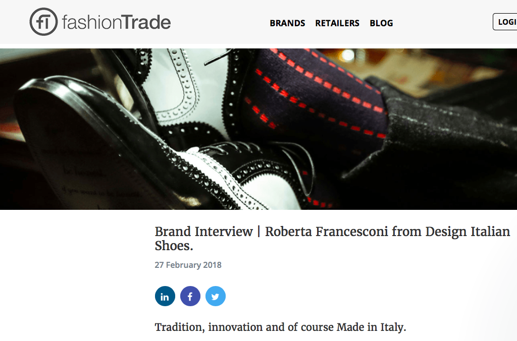 DIS Design Italian Shoes featured on FashionTrade February 27 2018